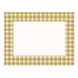 Gingham check pattern. Tan and White. Postcards