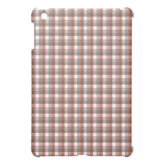 Gingham check pern. Gray, Red - Brown and White iPad Mini Cover