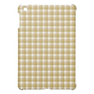 Gingham check pern. Tan and White. iPad Mini Cases