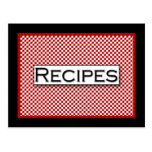 Gingham Check Red Black White Recipe Card