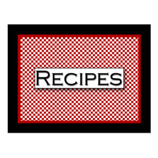 Gingham Check Red Black White Recipe Card Postcard