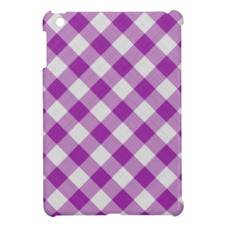 gingham checkered pattern purple and white iPad mini cover