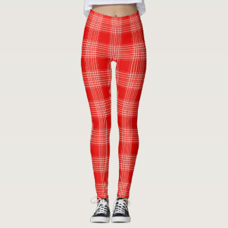 Gingham Checkered Red and White Leggings