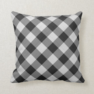 gingham checkers pattern black and white cushion