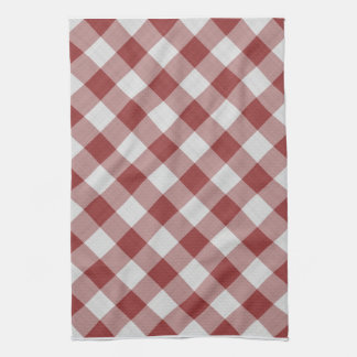 gingham checkers pattern red and white tea towel