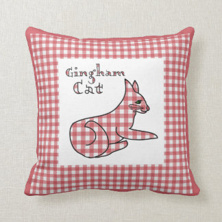 Gingham Country Cat Throw Pillow