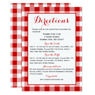 Gingham Directions Details Red White Check Wedding 13 Cm X 18 Cm Invitation Card