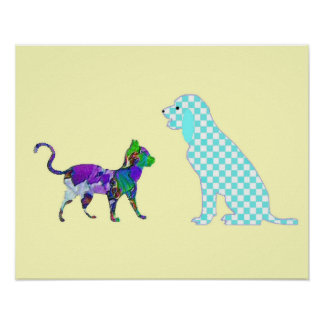 Gingham dog and calico cat poster