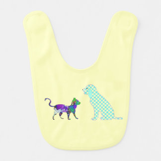 Gingham dog and calico cat bibs