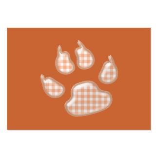 gingham dog paw - orange pack of chubby business cards