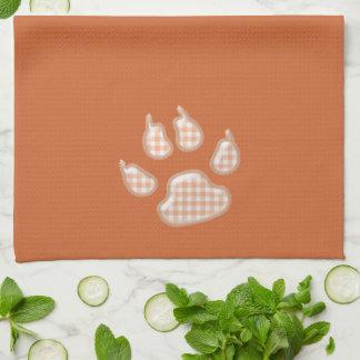 gingham dog paw - orange kitchen towel