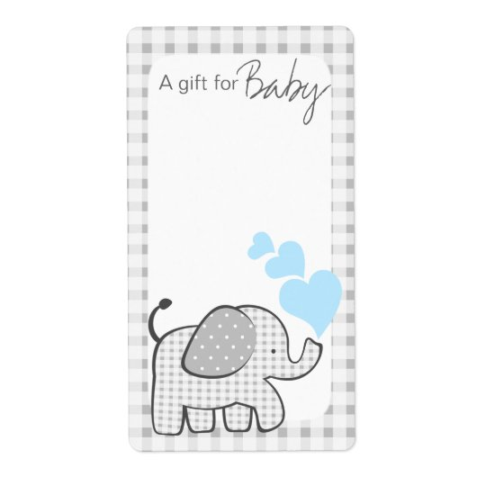 Gingham Elephant Book Tags Blue Hearts