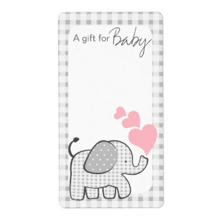 Gingham Elephant Book Tags Pink Hearts Shipping Label