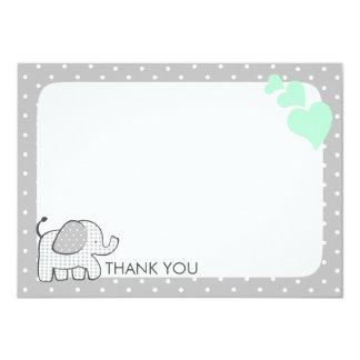 Gingham Elephant Mint Green Baby Thank you 11 Cm X 16 Cm Invitation Card