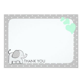 Gingham Elephant Mint Green Baby Thank you Card