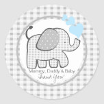Gingham Elephant with Blue Hearts