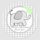 Gingham Elephant with Green Hearts Round Sticker