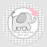 Gingham Elephant with Hearts Round Sticker