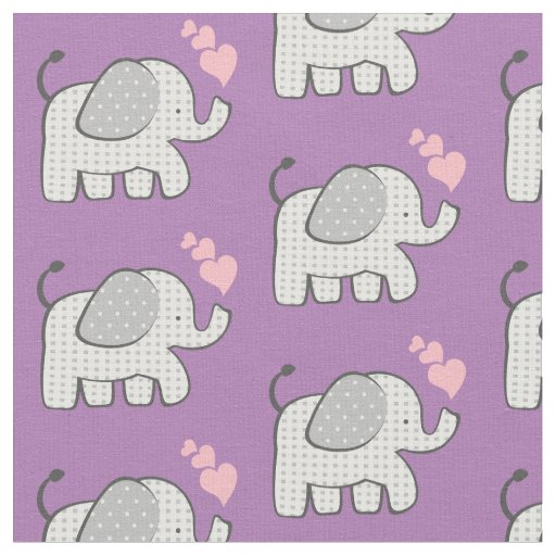 Gingham Elephants and Pink Hearts Fabric