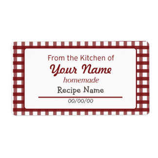 Gingham Food  Label Shipping Label