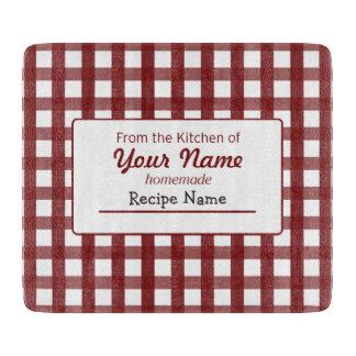 Gingham Food  Label Cutting Board