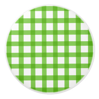 Gingham Green Pattern Ceramic Knob