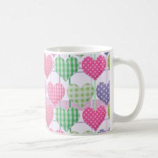 Gingham Hearts Pattern Coffee Mug