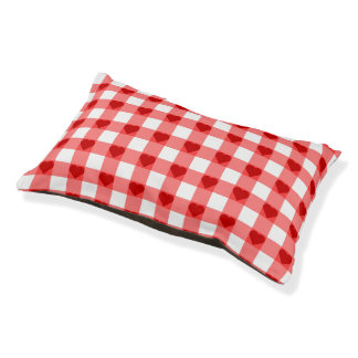 Gingham Hearts Pet Bed