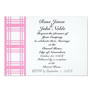 Gingham Ivory (Pink) Wedding Invitation
