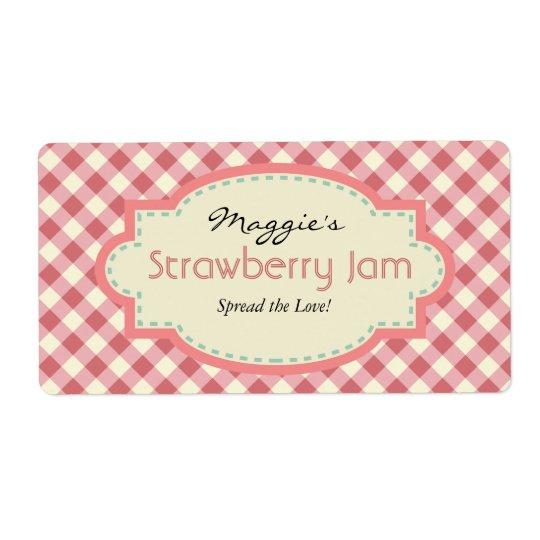 Gingham Jam Jar Labels, Customise