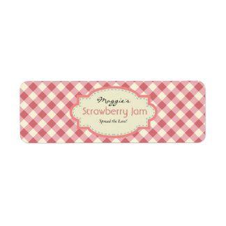 Gingham Jam Jar Labels, Customize Return Address Label