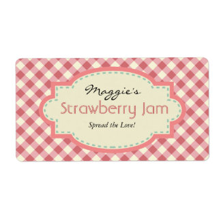 Gingham Jam Jar Labels, Customize Shipping Label