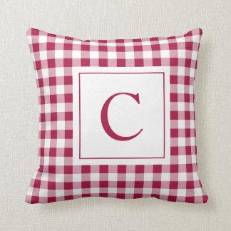 Gingham Maroon Monogram Pillow