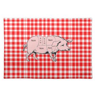 Gingham Nom Pig Placemat Cloth Place Mat