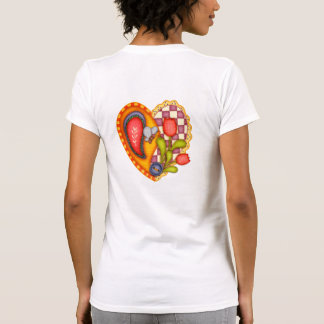 Gingham & Paisley Patchwork Heart & Flowers T Shirts