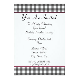 gingham party invitation
