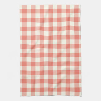 Gingham Pattern Kitchen Towel in Coral