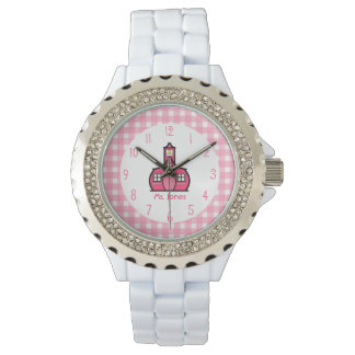 Gingham & Pink Schoolhouse Teacher Watch
