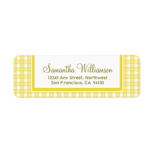 Gingham Plaid Return Address Labels (yellow)