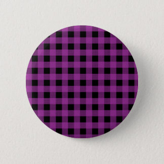 Gingham Plum and Black 6 Cm Round Badge