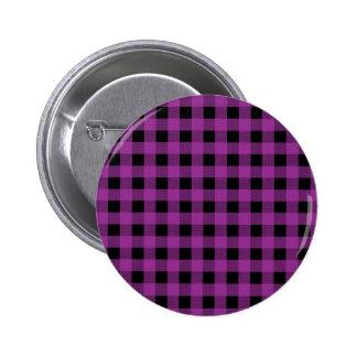 Gingham Plum and Black 6 Cm Round Badge