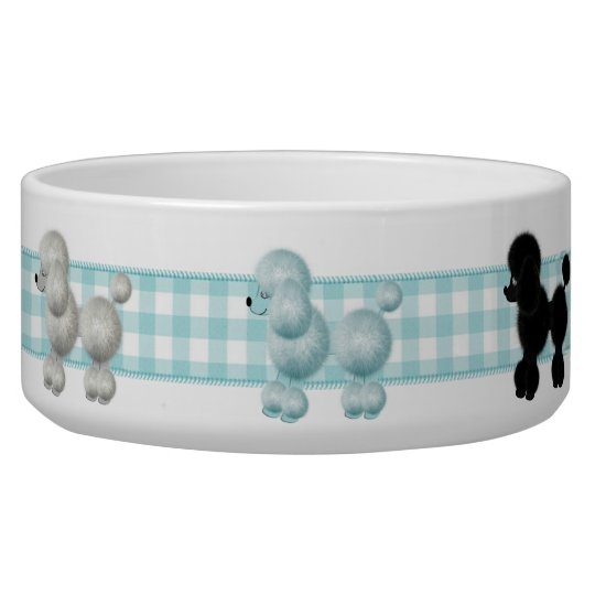 Gingham Poodle Dog Bowl