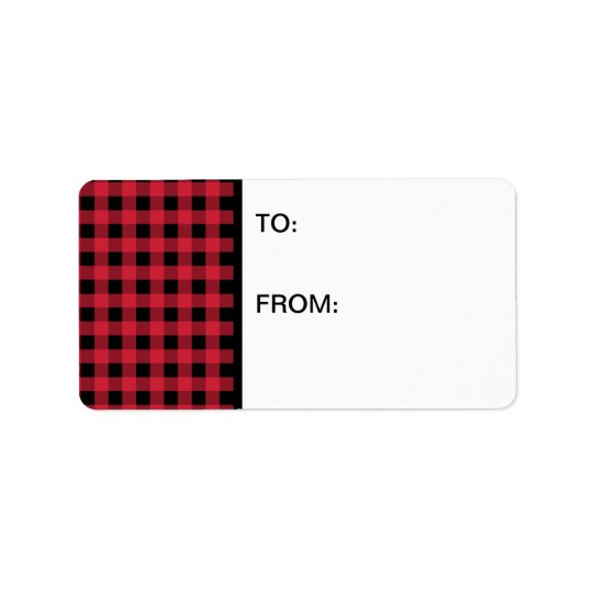 Gingham Red and Black Address Label