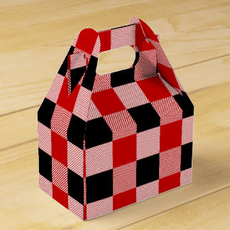 Gingham Red And Black Checks Plaid Party Wedding Favour Box