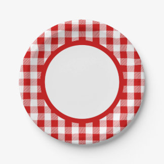 Gingham Red And White Checks Plaid Party, Wedding Paper Plate