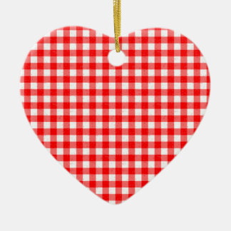 Gingham Red and White Pattern Heart Ornament