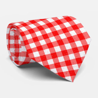 Gingham Red and White Pattern Neck Tie