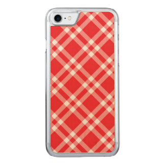 Gingham red check pattern carved iPhone 8/7 case