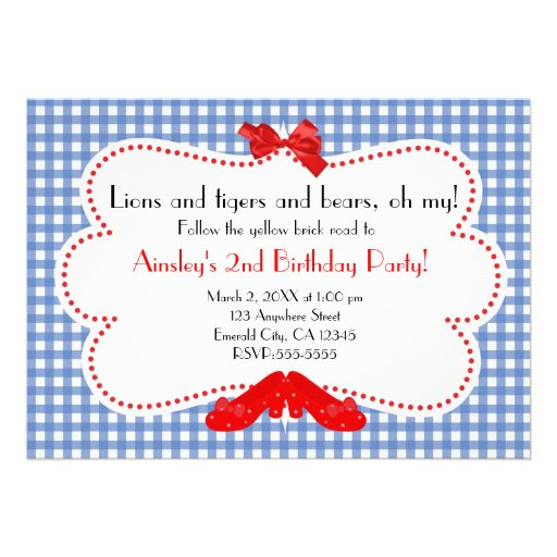 Gingham Ruby Slippers Wizard of Oz Invitation