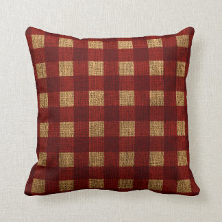Gingham Rustic Red Cushion